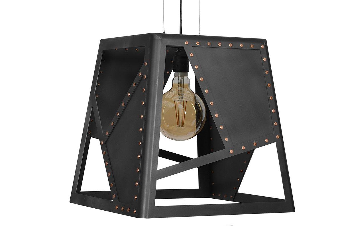 Industriedesign Deckenlampe aus Rohstahl mit Kupfer Nieten gefertigt, Modell INU.