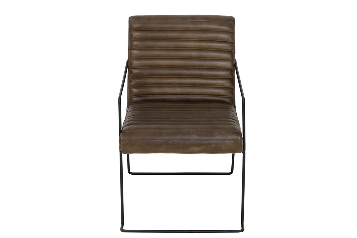 Industrial Look Echtleder Stuhl mit einem schwarzen Gestell