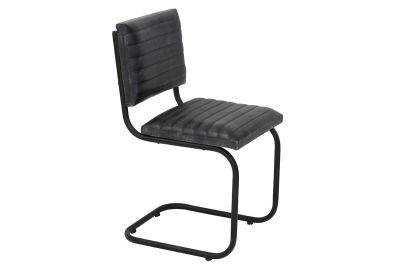Echtleder Stuhl mit einem dezenten Stahlgestell in schwarz