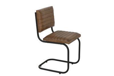 Freischwinger Stuhl mit einem Stahlgestell in schwarz, Modell 21D.