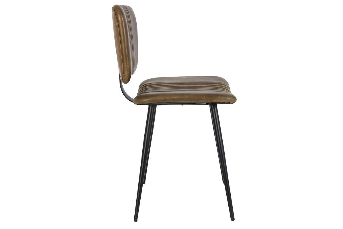 Seitliche Ansicht: Leder Stuhl in braun mit Metall Beinen