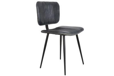 Leder Stuhl ohne Armlehnen mit Metall Stuhlbeinen in Struktur schwarz