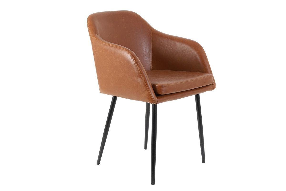 Kunstleder Stuhl in der Farbe Cognac mit Metallbeinen