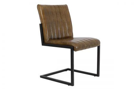 Industrial Stuhl aus Echtleder in dunkelbraun, 27A als Freischwinger gefertigt.