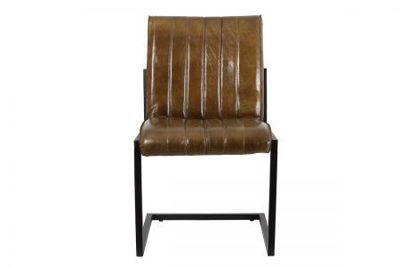 Frontansicht: Industrial Freischwinger Stuhl mit dunkelbraunem Leder