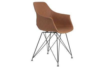 Moderner Kunstleder Schalenstuhl in der Farbe braun mit filigranem Gestell, Modell 14A.