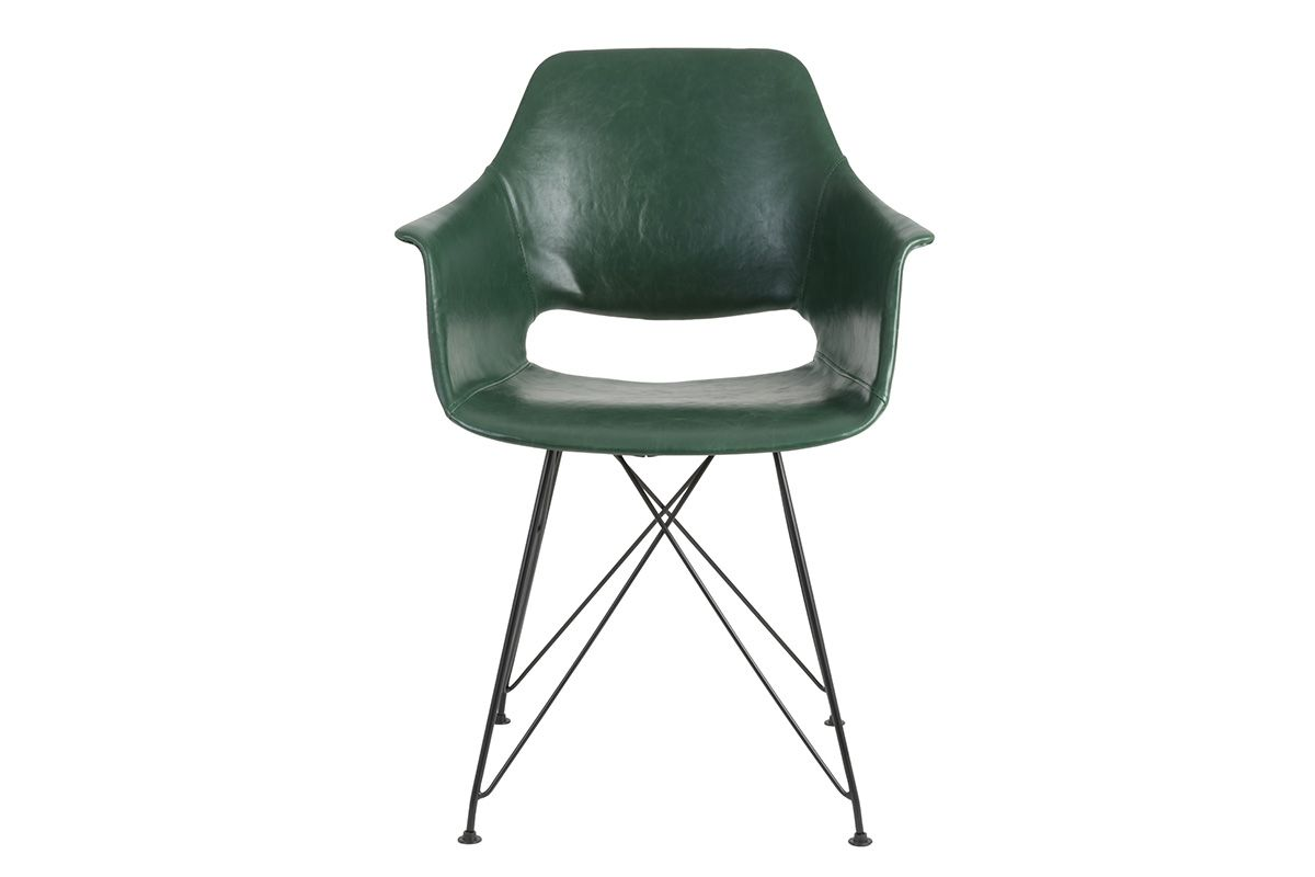 Vorderansicht vom Schalenstuhl modern aus Kunstleder in der Farbe grün.
