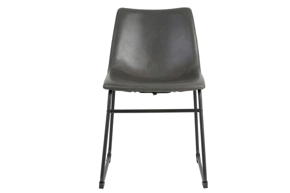 Vorderansicht: Kunstleder Stuhl in grau im modernen Gewand