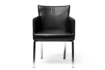 Stuhl aus Kunstleder in der Farbe braun mit einem filigranen Gestell, Modell 15A.