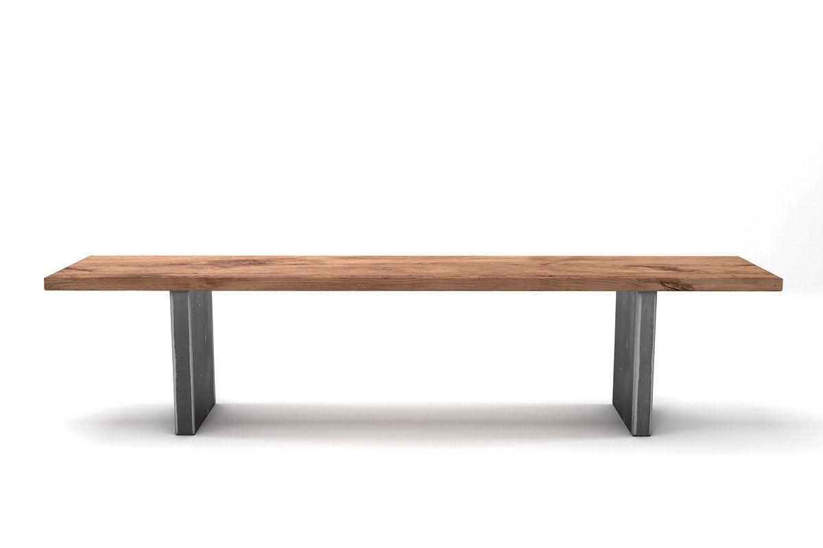 Massivholz Sitzbank mit Stahlwangen nach deinem Maß gefertigt
