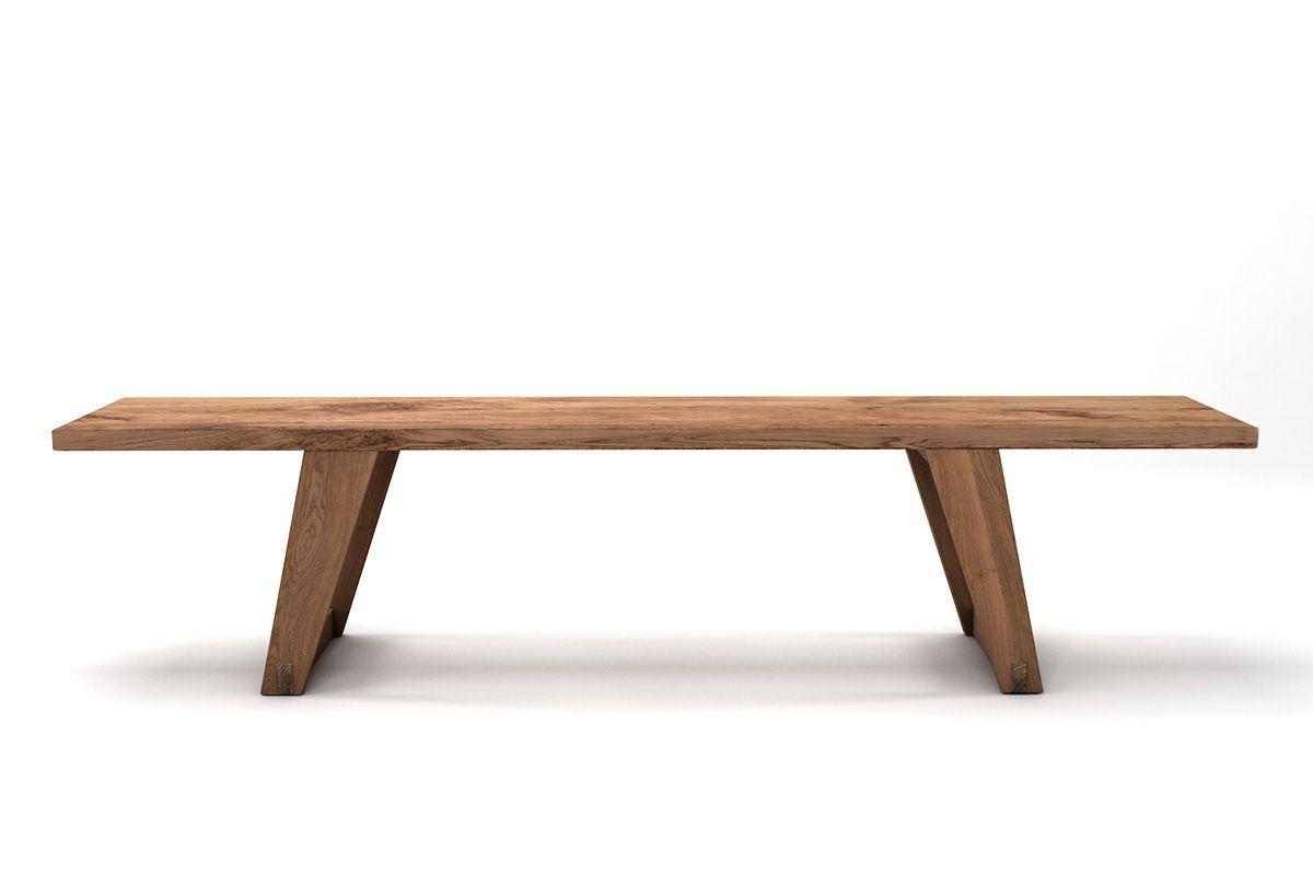 Massivholz Sitzbank aus Eiche mit lebhaftem Ast- und Splintholzanteil gefertigt.