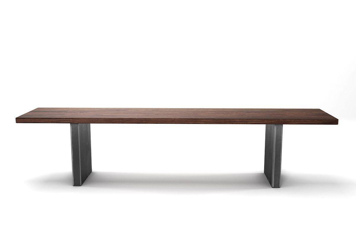 Holzbank aus Nussbaum astfrei mit Stahlwangen nach deinem Maß gefertigt