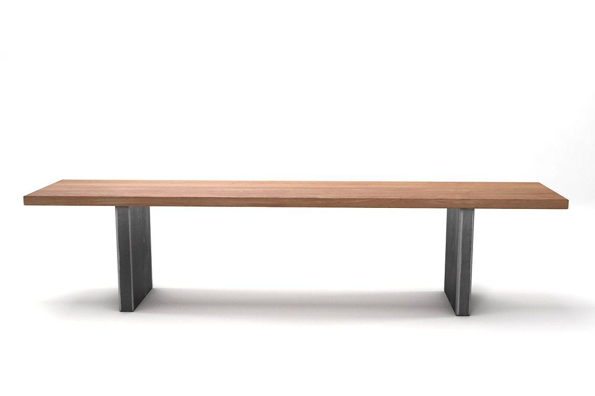 Holz Sitzbank Buche in vollmassiver Ausführung mit Stahlwangen versehen, gefertigt nach deinem Maß.
