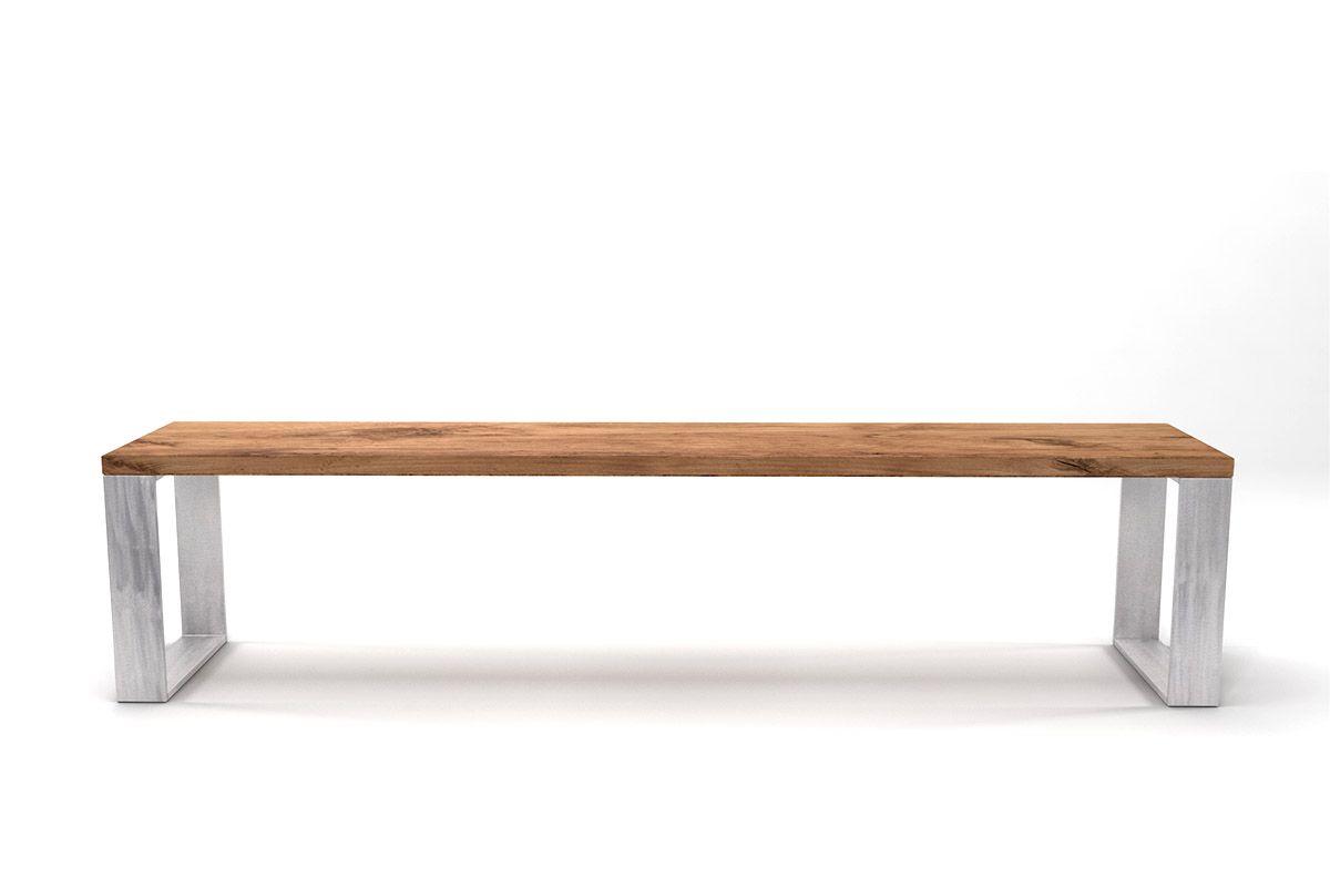 Eichen Sitzbank massiv mit Stahlkufen und chrarkteristischen Astanteil nach deinem Maß gefertigt.