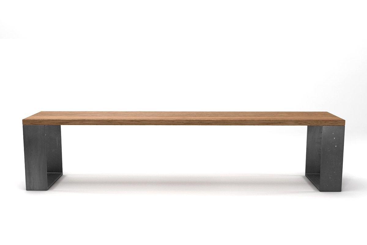 Eichebank Massivholz in astfreier Qualität mit Stahlkufen nach deinem Maß produziert.