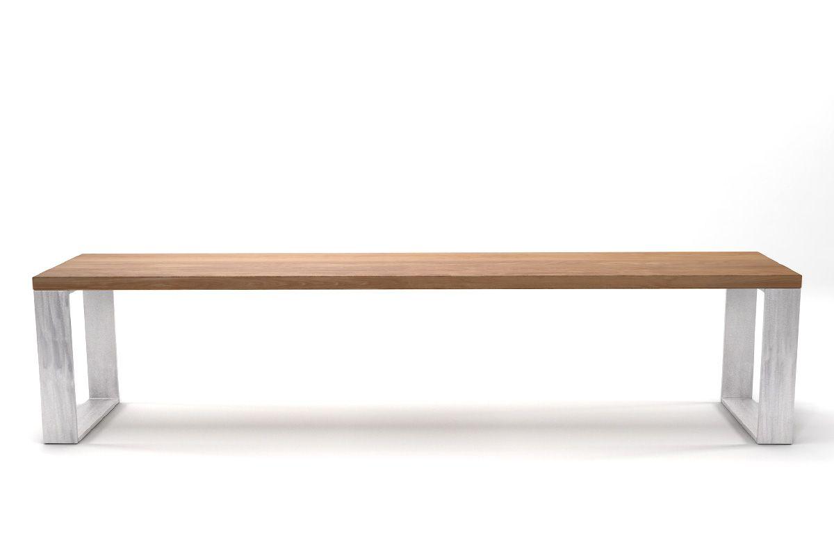 Buche Sitzbank astfrei 4cm kombiniert mit Kufen aus Stahl in verschiedenen Oberflächen erhältlich.