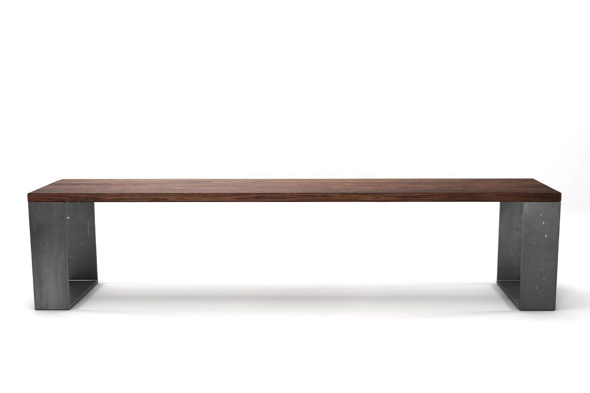 Holzsitzbank Nussbaum astfrei mit Kufen aus Stahl nach deinem Maß.