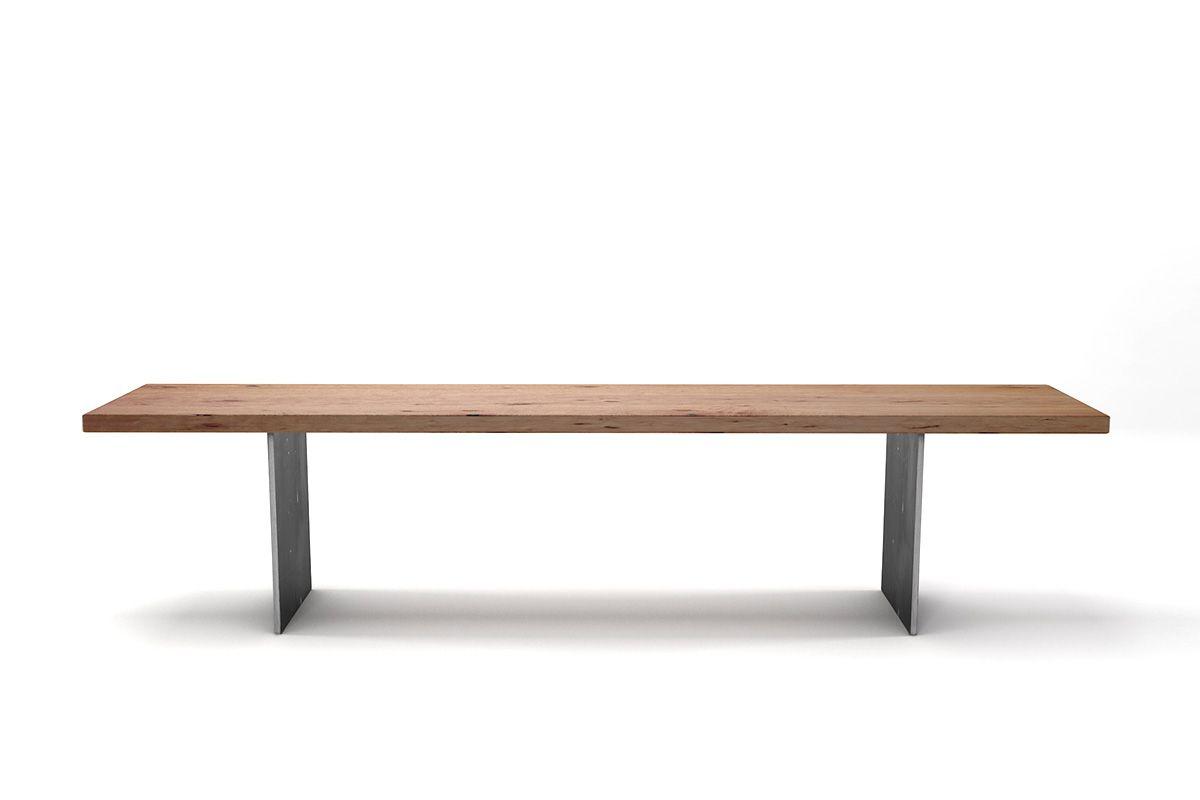 Buchenholz Sitzbank für den Esstisch mit lebhaftem Astanteil nach deinem Maß mit Wangen aus Stahl