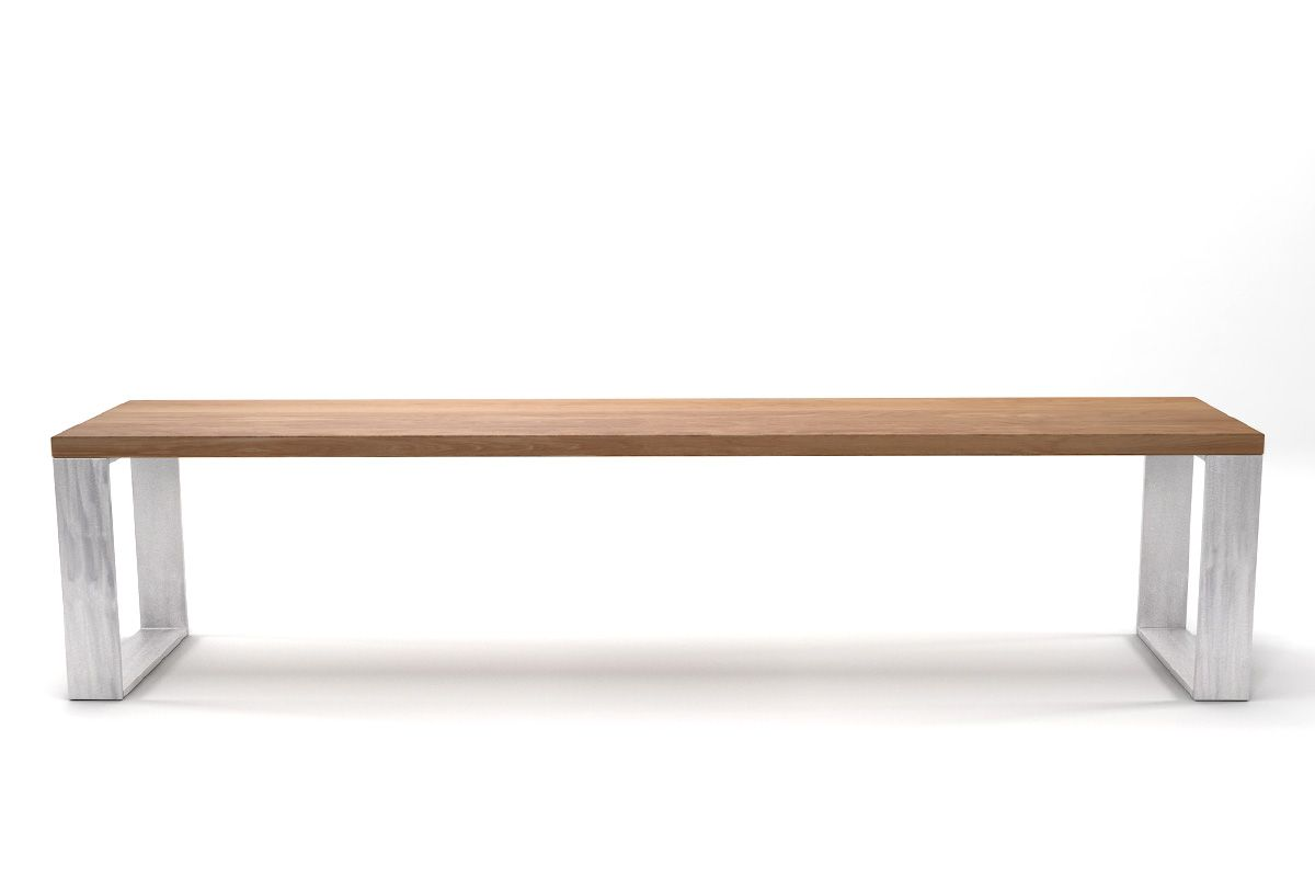 Buchenholz Sitzbank massiv mit Stahlkufen nach Maß gefertigt.