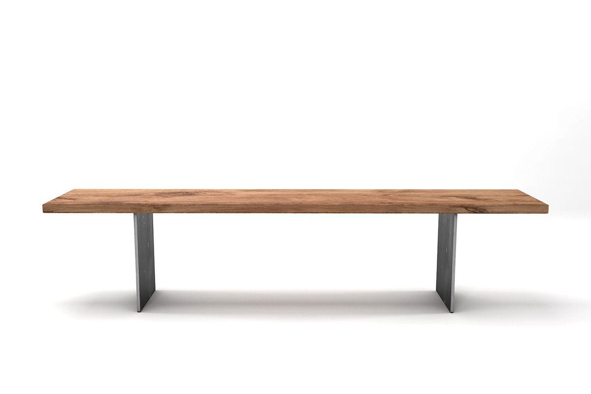 Seitliche Ansicht: Eichenbank Echtholz massiv mit Astanteil nach deinem Maß gefertigt.